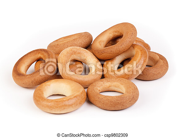 Culinary product bagels isolated on a white - csp9802309