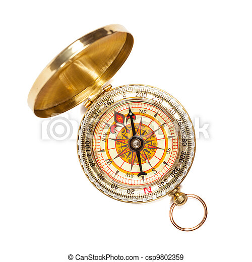 Vintage golden compass isolated - csp9802359