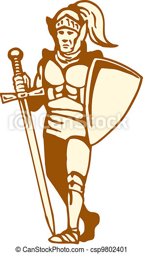 knight standing with sword and shield - csp9802401