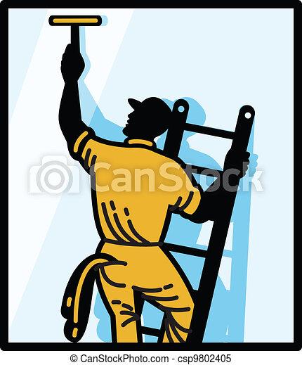 Window Cleaner Worker Cleaning Ladder Retro - csp9802405