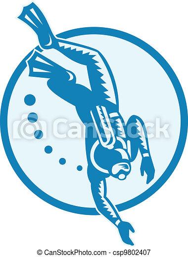 Scuba Diver Diving Retro - csp9802407
