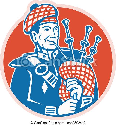 Vector Illustration of Scotsman Scottish Bagpiper Retro ...