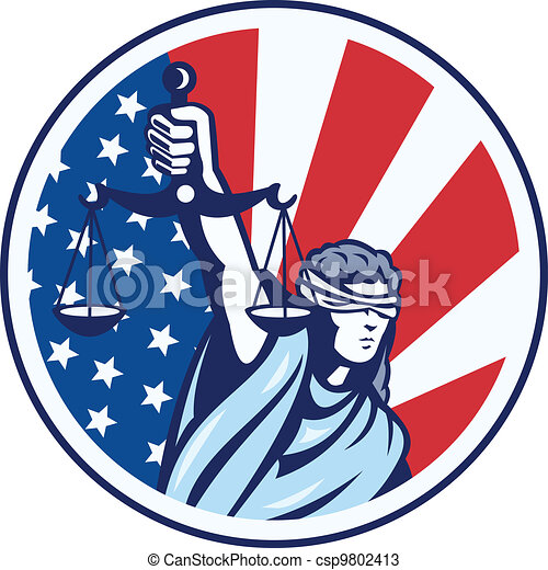 American Lady Holding Scales of Justice Flag retro - csp9802413