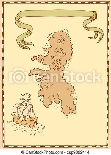 Map Treasure Island Tall Ship - csp9802414