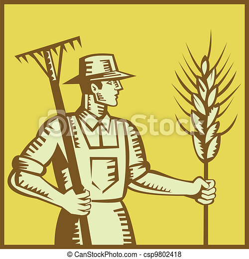 Farmer With Rake and Wheat Woodcut - csp9802418