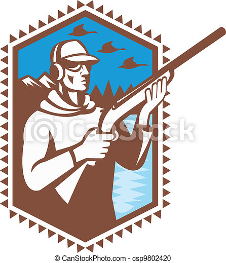 Hunter With Shotgun Rifle Duck Shooting Retro - csp9802420