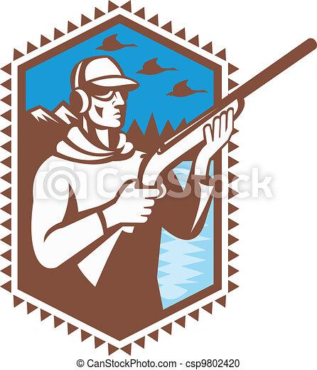 Hunter With Shotgun Rifle Duck Shooting Retro - csp9802420