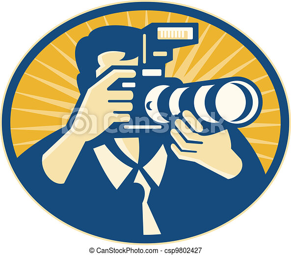 Photographer DSLR Camera Shooting Retro - csp9802427