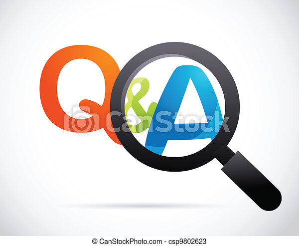 magnifying glass with question and answer - csp9802623