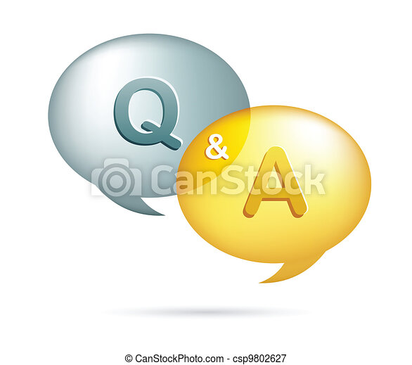 speech bubbles with question and answer - csp9802627