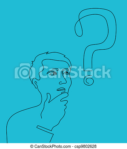 Thinking man with a question mark - csp9802628