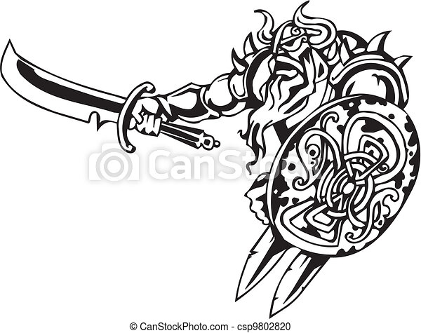 Nordic viking - vector illustration. Vinyl-ready. - csp9802820
