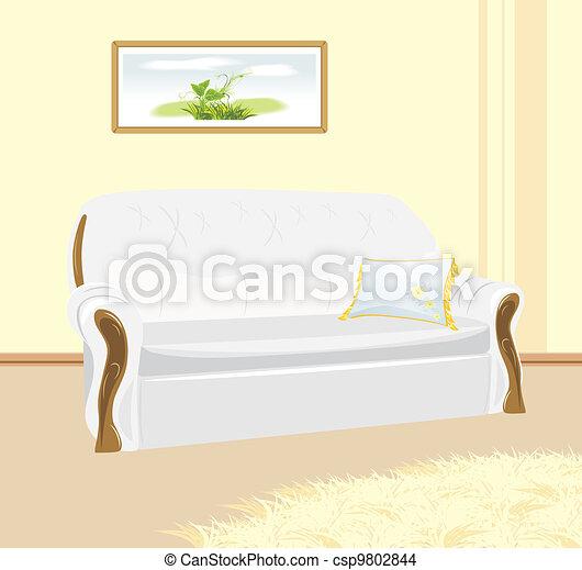 White sofa with pillow - csp9802844