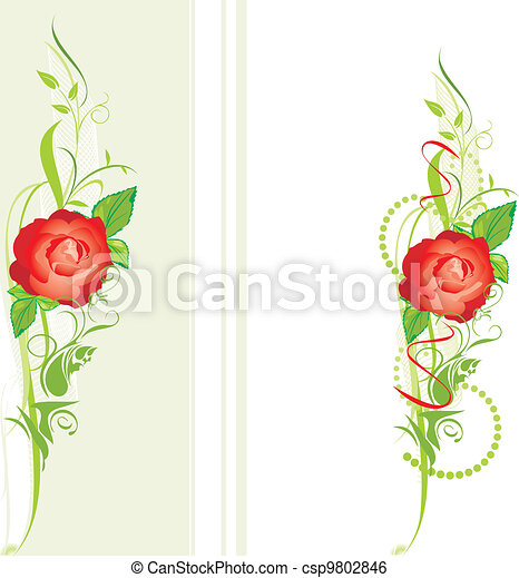 Decorative borders with red rose - csp9802846