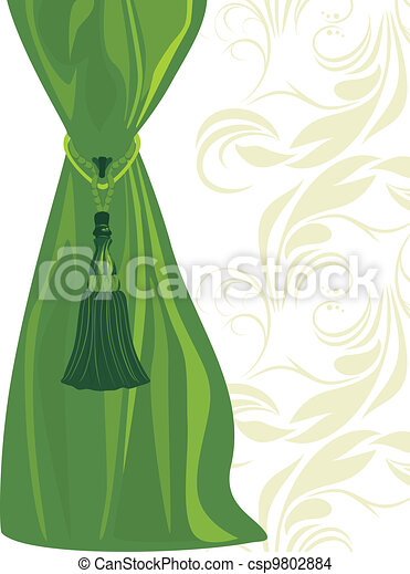 Green portiere with tassel - csp9802884