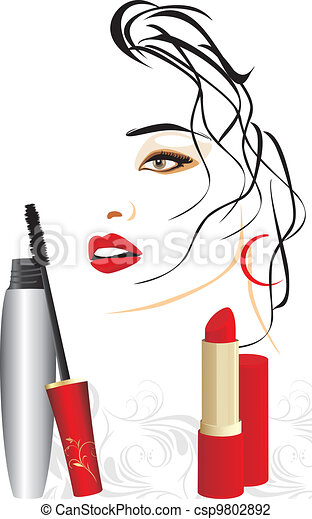 Mascara and red lipstick - csp9802892
