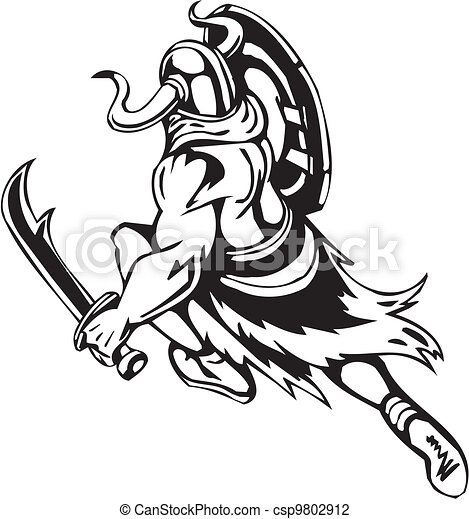 Nordic viking - vector illustration. Vinyl-ready. - csp9802912