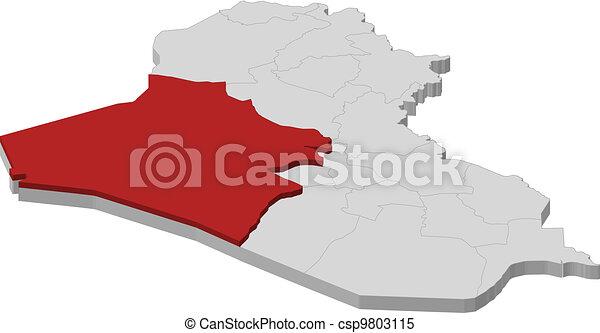 mapa, Iraque, al, Anbar, destacado - csp9803115