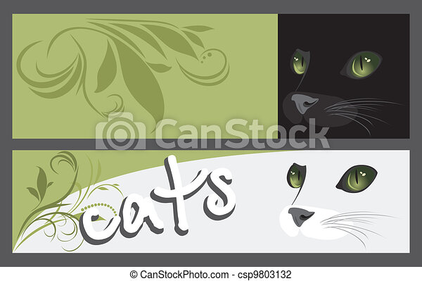 Two banners with muzzle of cats - csp9803132