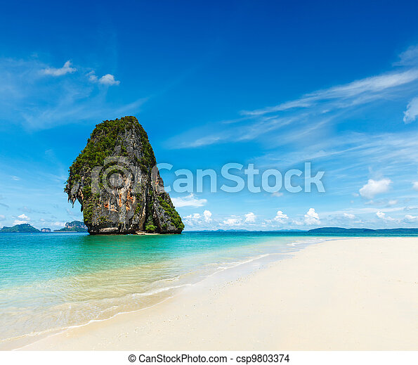 Idyllic beach, sand, sea, sky - csp9803374