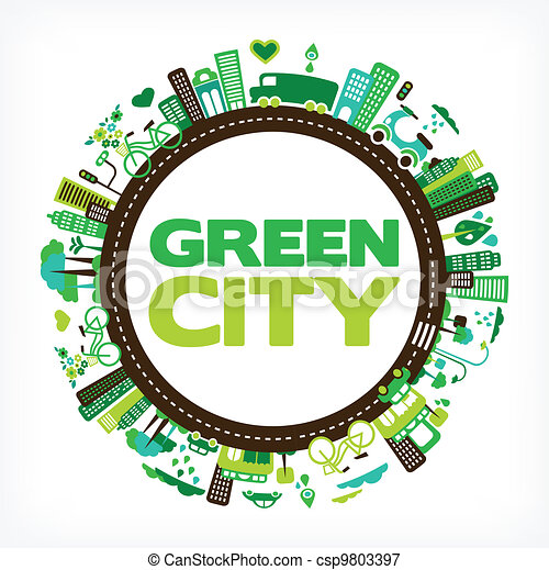 circle with green city - environment and ecology - csp9803397