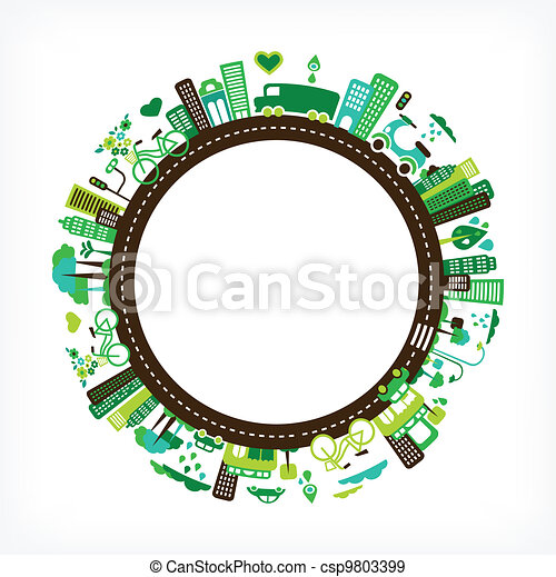 circle with green city - environment and ecology - csp9803399