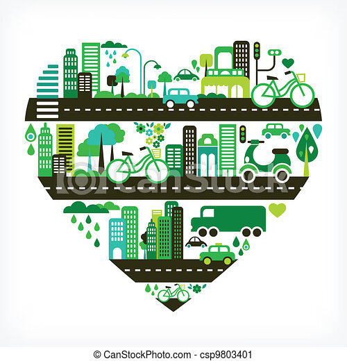 heart shape with green city - csp9803401