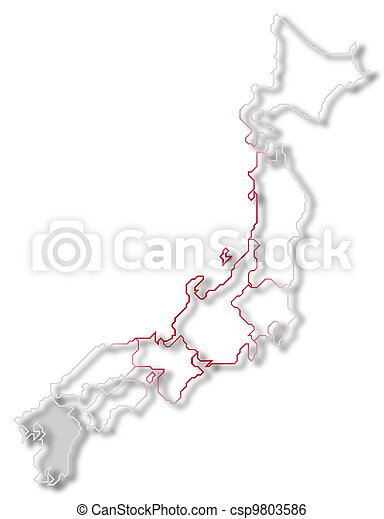Map of Japan, Kyushu-Okinawa highlighted - csp9803586