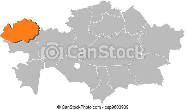 Map of Kazakhstan, West Kazakhstan highlighted - csp9803909