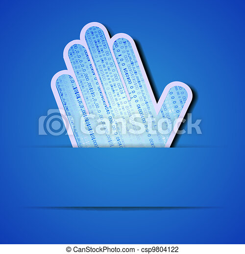 Vector palm with binary code on blue background. Eps10 illustration - csp9804122