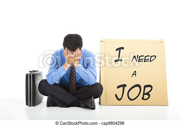 Depressed businessman looking for a job - csp9804298