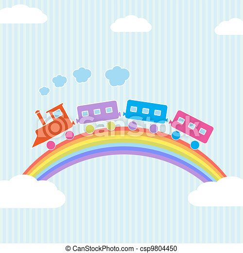Colorful train on rainbow - csp9804450