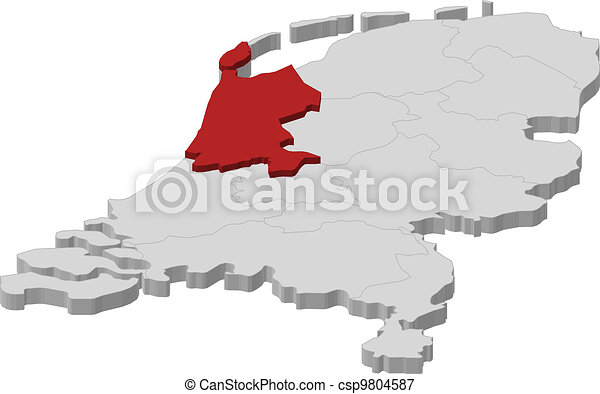 Map of Netherlands, North Holland highlighted - csp9804587