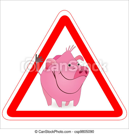 Warning sign with a funny Boar, Pig - csp9805090