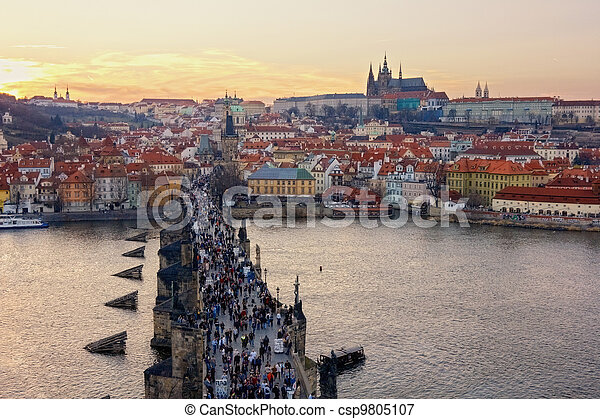 aerial view of Charles Bridge and Prague Castle, Czech Republic - csp9805107