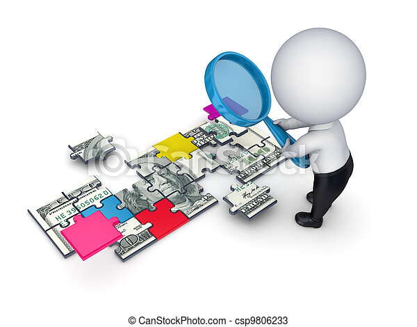 3d person with a loupe and dollar made of puzzles. - csp9806233