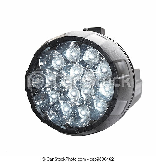 Black LED flashlight isolated  - csp9806462