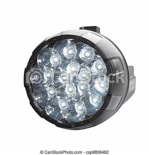 Black LED flashlight isolated  - csp9806462