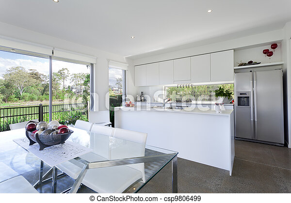 Modern kithchen and dining room - csp9806499