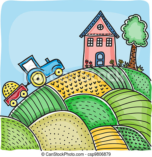 Illustration of agricultural fields, house on hill and tractor - csp9806879