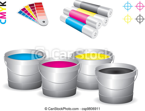 Vector print shop icon set - cmyk - csp9806911
