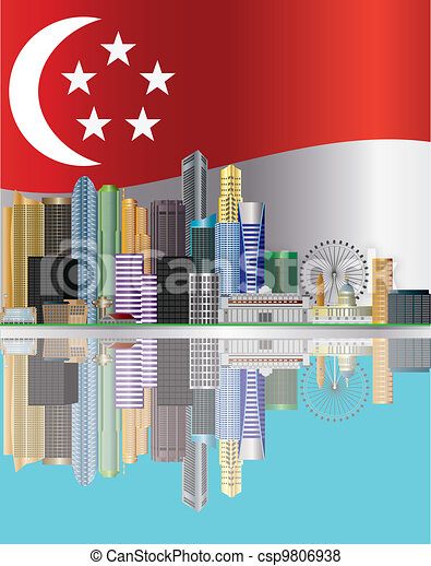 Singapore City Skyline Reflection and Flag Illustration - csp9806938