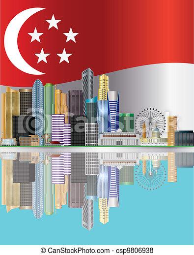 Singapore City Skyline Reflection and Flag Illustration - csp9806938