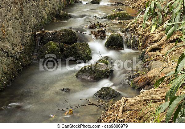 Waterway With Rocks Long Exposure - csp9806979