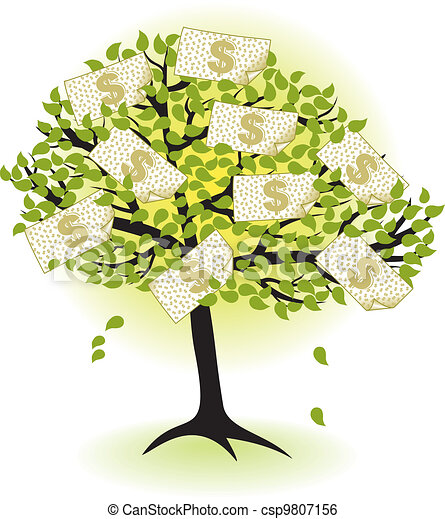 money  tree.with dollar banknotes  - csp9807156