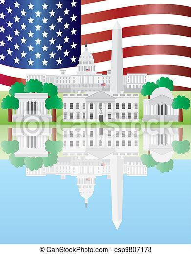 Washington DC Landmarks Reflection with US Flag - csp9807178