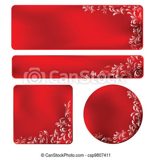 red frame with white ornament - csp9807411