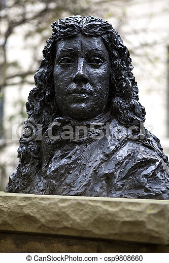Bust of Samuel Pepys in Seething Lane Garden - csp9808660