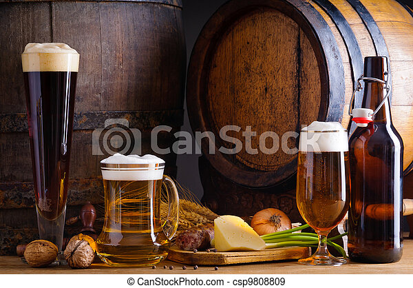 tradicional, alimento, Cerveja - csp9808809