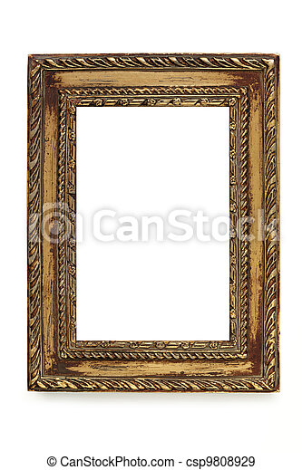 Gilded Shabby Chic Picture Frame over White - csp9808929